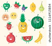 cute smiling funny fruit vegan... | Shutterstock .eps vector #1116915854