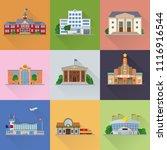flat design public buildings... | Shutterstock .eps vector #1116916544