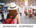 close up rear view on traveler... | Shutterstock . vector #1116918464