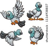 cartoon pigeon in different... | Shutterstock .eps vector #1116938837