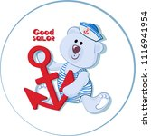 white bear cub with an anchor... | Shutterstock .eps vector #1116941954