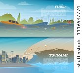 tsunami on tropical beach. big... | Shutterstock .eps vector #1116947774