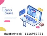 order online concept with... | Shutterstock .eps vector #1116951731