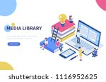 media book library concept... | Shutterstock .eps vector #1116952625
