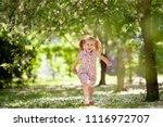 little cute girl walking in... | Shutterstock . vector #1116972707