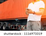 young man holding a smartphone... | Shutterstock . vector #1116973319