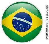 Vector - botón brillante de la bandera de Brasil