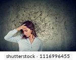 thoughtful stressed young woman ... | Shutterstock . vector #1116996455