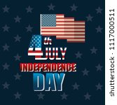 usa independence day with flag | Shutterstock .eps vector #1117000511