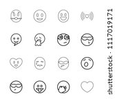 emotion icon. collection of 16... | Shutterstock .eps vector #1117019171