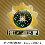 shiny badge with atom icon and ... | Shutterstock .eps vector #1117035641