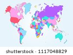color world map vector | Shutterstock .eps vector #1117048829