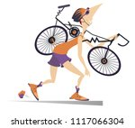 tired cyclist with a broken... | Shutterstock .eps vector #1117066304