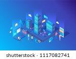 isometric blue vector...   Shutterstock .eps vector #1117082741