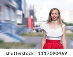 woman with long fair hair and... | Shutterstock . vector #1117090469