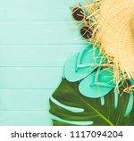 summer arrangement of leave ... | Shutterstock . vector #1117094204