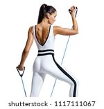 sporty woman performs... | Shutterstock . vector #1117111067