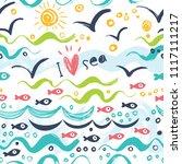 i love the sea. seamless... | Shutterstock .eps vector #1117111217