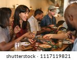 smiling group of diverse young... | Shutterstock . vector #1117119821