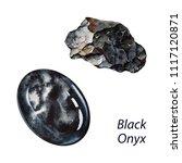 black onyx. watercolor gems.... | Shutterstock . vector #1117120871