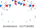 red and blue white confetti and ... | Shutterstock .eps vector #1117134281