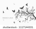 Flock Of Flying Birds On Tree...
