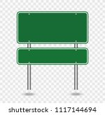 green blank road sign isolated... | Shutterstock .eps vector #1117144694