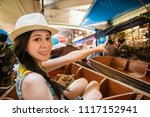 travelling young asian woman...   Shutterstock . vector #1117152941