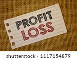 Small photo of Text sign showing Profit Loss. Conceptual photos Financial year end account contains total revenues and expensesNotebook page ideas message black red letters words wicker background.