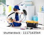 washing machine repair service. ... | Shutterstock . vector #1117163564
