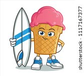ice cream with surf board... | Shutterstock .eps vector #1117167377