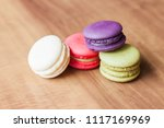 colorful french macarons on... | Shutterstock . vector #1117169969