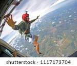 brave parachutist with red...   Shutterstock . vector #1117173704