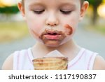 kid eating ice cream. cute... | Shutterstock . vector #1117190837
