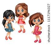 cute cartoon girls collection... | Shutterstock .eps vector #1117196327