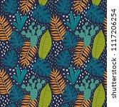 tropical leaves summer print.... | Shutterstock .eps vector #1117206254