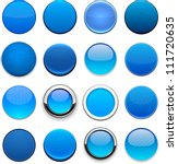 set of blank blue round buttons ... | Shutterstock .eps vector #111720635