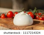 fresh soft white burrata ... | Shutterstock . vector #1117214324
