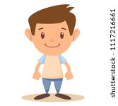 vector cartoon funny little boy ... | Shutterstock .eps vector #1117216661