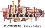 motherhood word cloud concept.... | Shutterstock .eps vector #1117241699