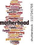 motherhood word cloud concept.... | Shutterstock .eps vector #1117241705