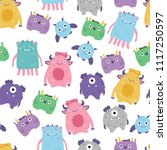 cute monsters hand drawn... | Shutterstock .eps vector #1117250597
