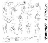 hands in various gestures. flat ... | Shutterstock .eps vector #1117256621