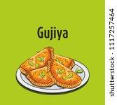 indian traditional sweet gujiya | Shutterstock .eps vector #1117257464