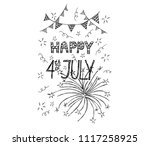 happy fourth of july card on...   Shutterstock .eps vector #1117258925