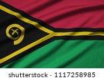 vanuatu flag  is depicted on a...   Shutterstock . vector #1117258985