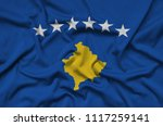kosovo flag  is depicted on a...   Shutterstock . vector #1117259141