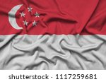 singapore flag  is depicted on...   Shutterstock . vector #1117259681