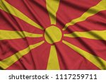 macedonia flag  is depicted on...   Shutterstock . vector #1117259711