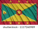 grenada flag  is depicted on a...   Shutterstock . vector #1117260989